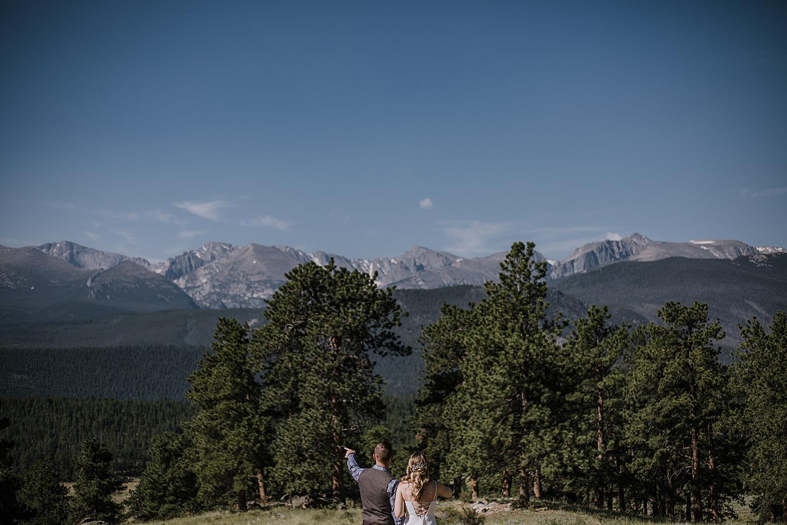 elopement couple hiking in RMNP, rocky mountain national park elopement, 3M curves elopement, self solemnizing, self solemnization, long's peak ceremony, hiking elopement, estes park elopement