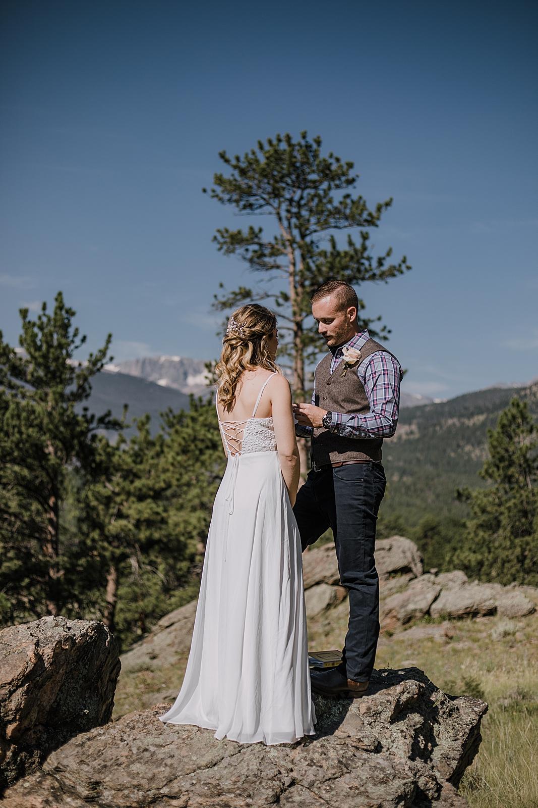 elopement ceremony, rocky mountain national park elopement, 3M curves elopement, self solemnizing, self solemnization, long's peak ceremony, hiking elopement, estes park elopement