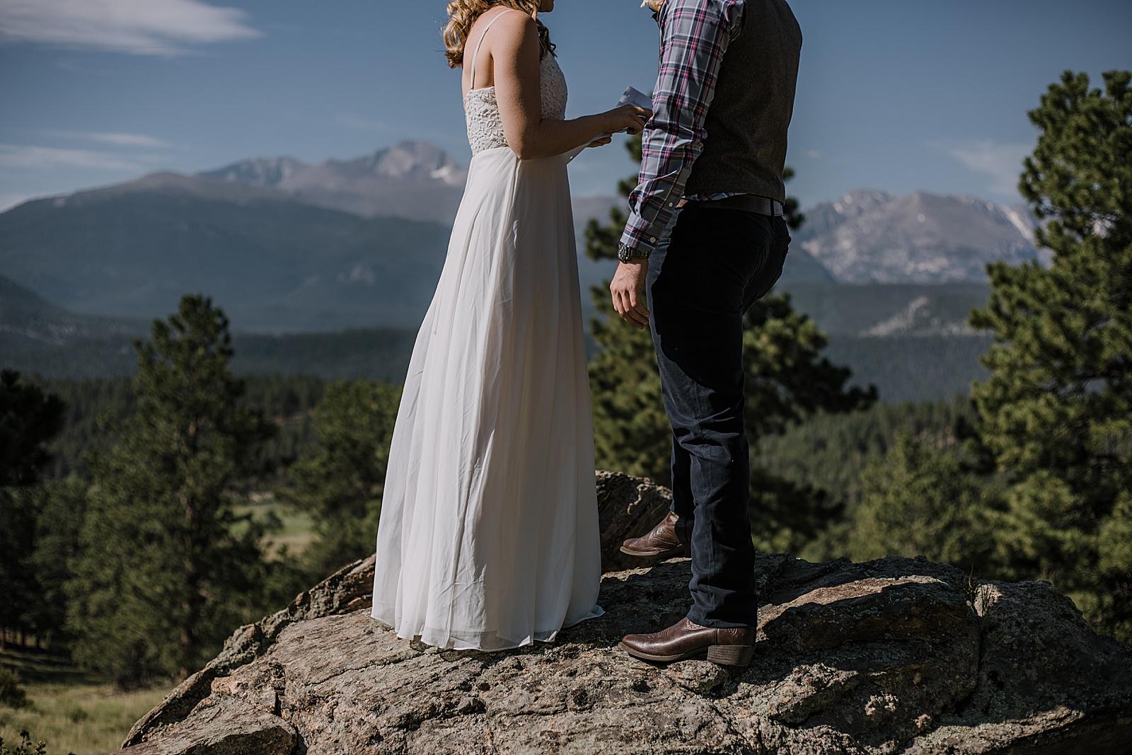 RMNP elopement ceremony, rocky mountain national park elopement, 3M curves elopement, self solemnizing, self solemnization, long's peak ceremony, hiking elopement, estes park elopement