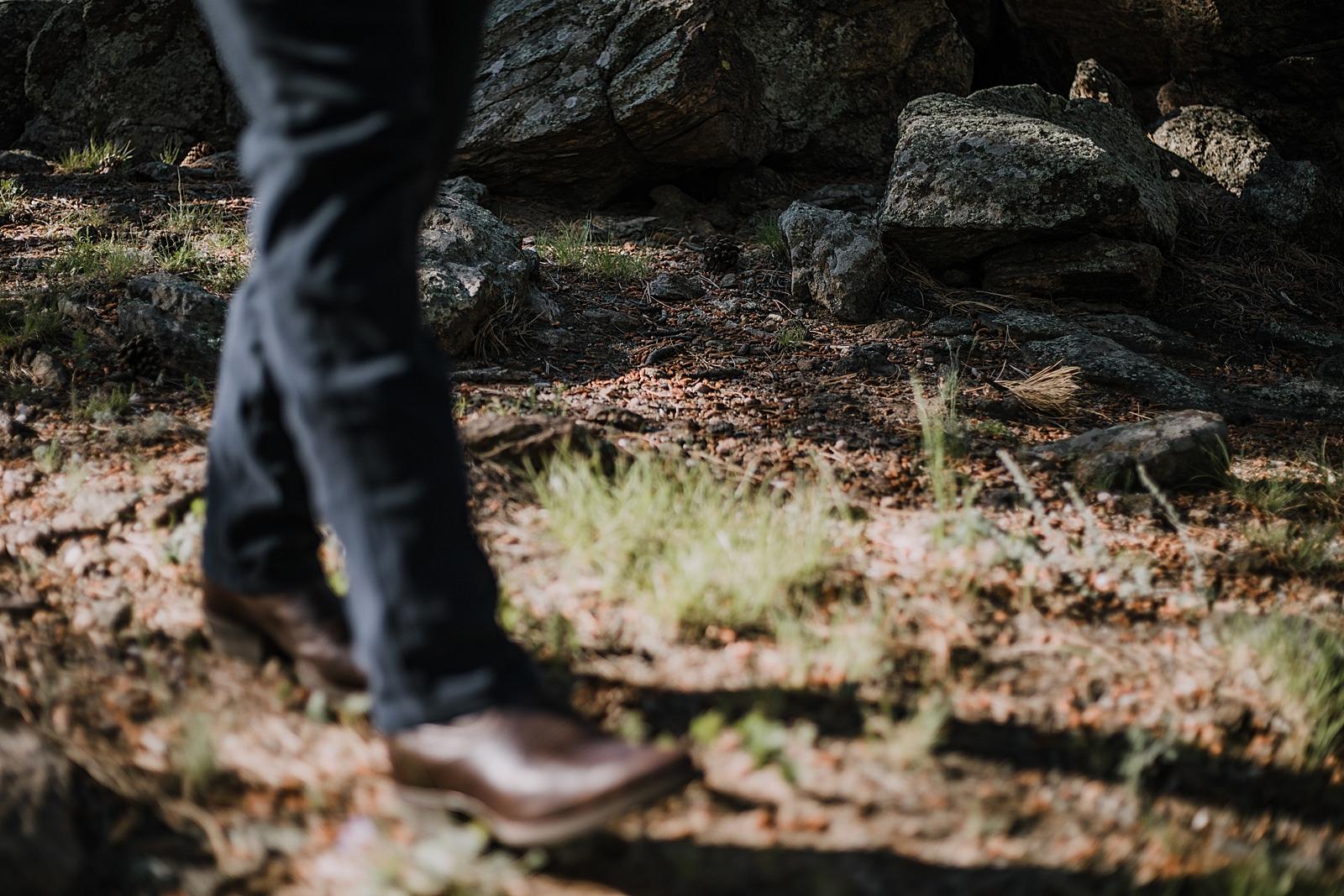grooms boots, RMNP elopement ceremony, rocky mountain national park elopement, 3M curves elopement, self solemnizing, self solemnization, long's peak, summer hiking elopement, estes park elopement