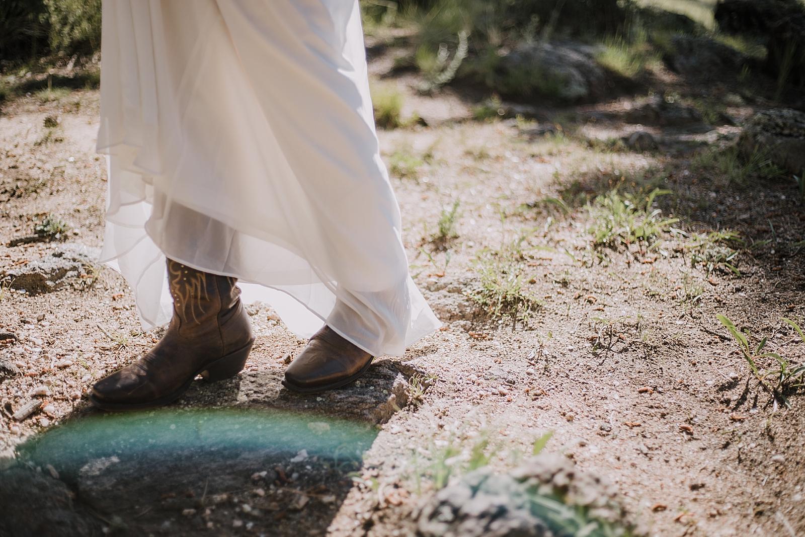 brides boots, RMNP elopement ceremony, rocky mountain national park elopement, 3M curves elopement, self solemnizing, self solemnization, long's peak, summer hiking elopement, estes park elopement
