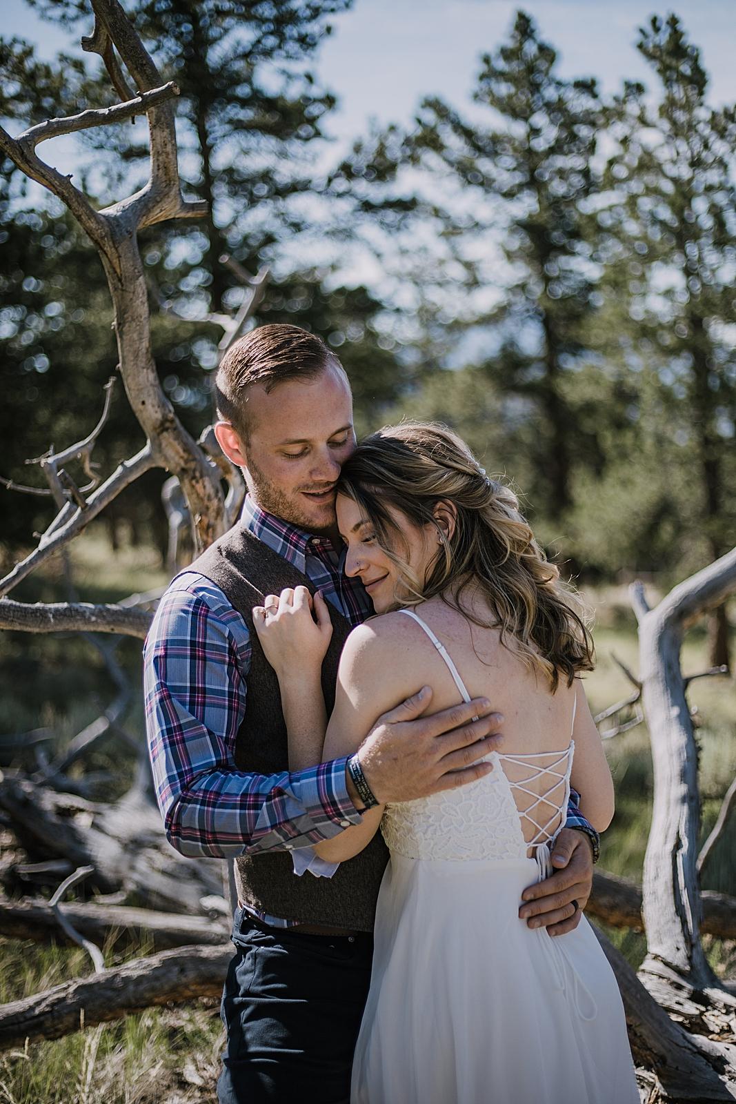 couple hiking, RMNP elopement ceremony, rocky mountain national park elopement, 3M curves elopement, self solemnizing, self solemnization, long's peak, summer hiking elopement, estes park elopement