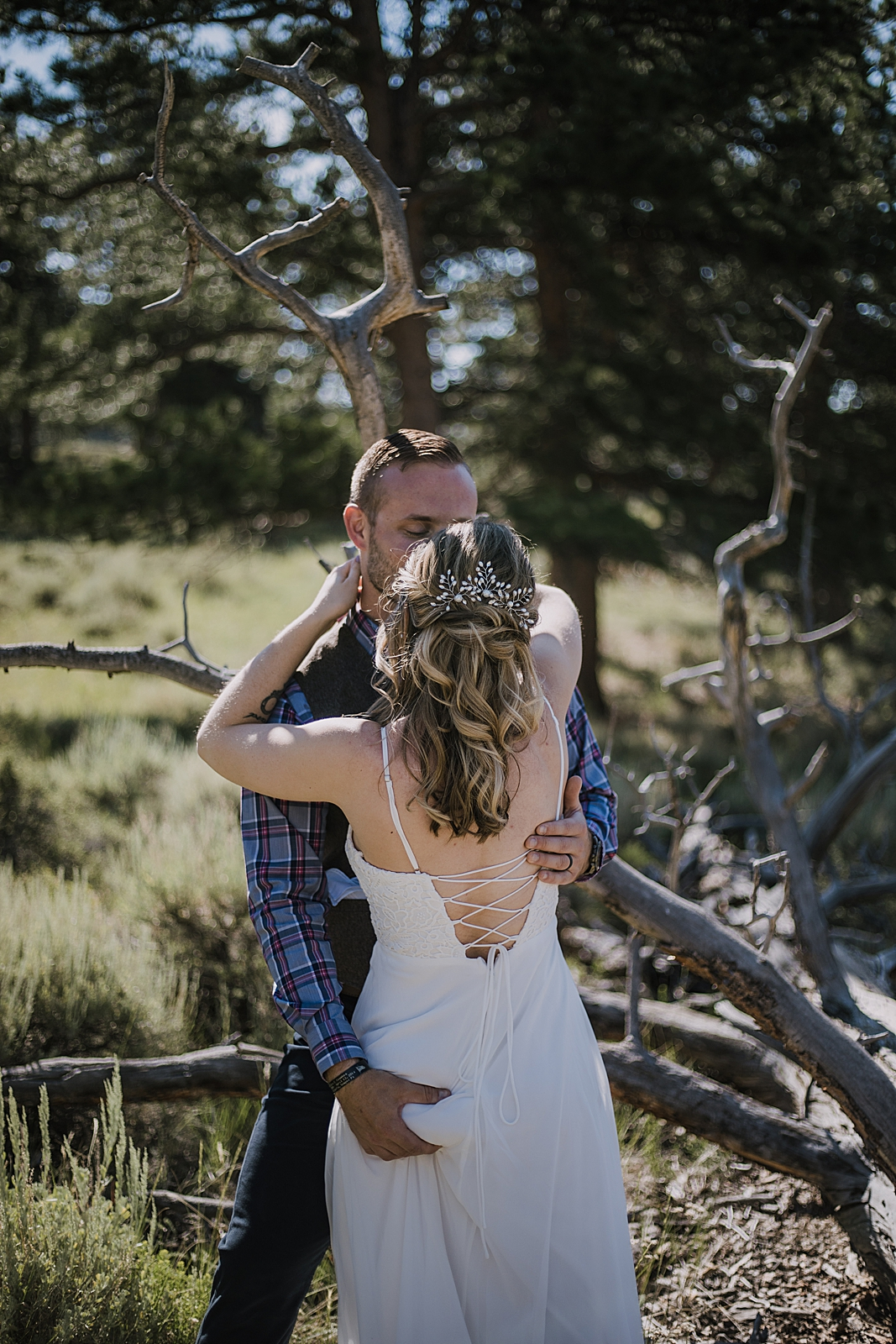 groom butt grab, RMNP elopement ceremony, rocky mountain national park elopement, 3M curves elopement, self solemnizing, self solemnization, long's peak, summer hiking elopement, estes park elopement