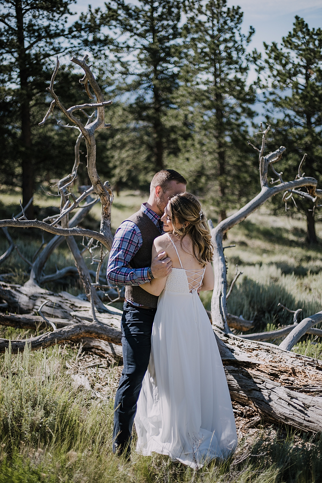 bride and groom, RMNP elopement ceremony, rocky mountain national park elopement, 3M curves elopement, self solemnizing, self solemnization, long's peak, summer hiking elopement, estes park elopement