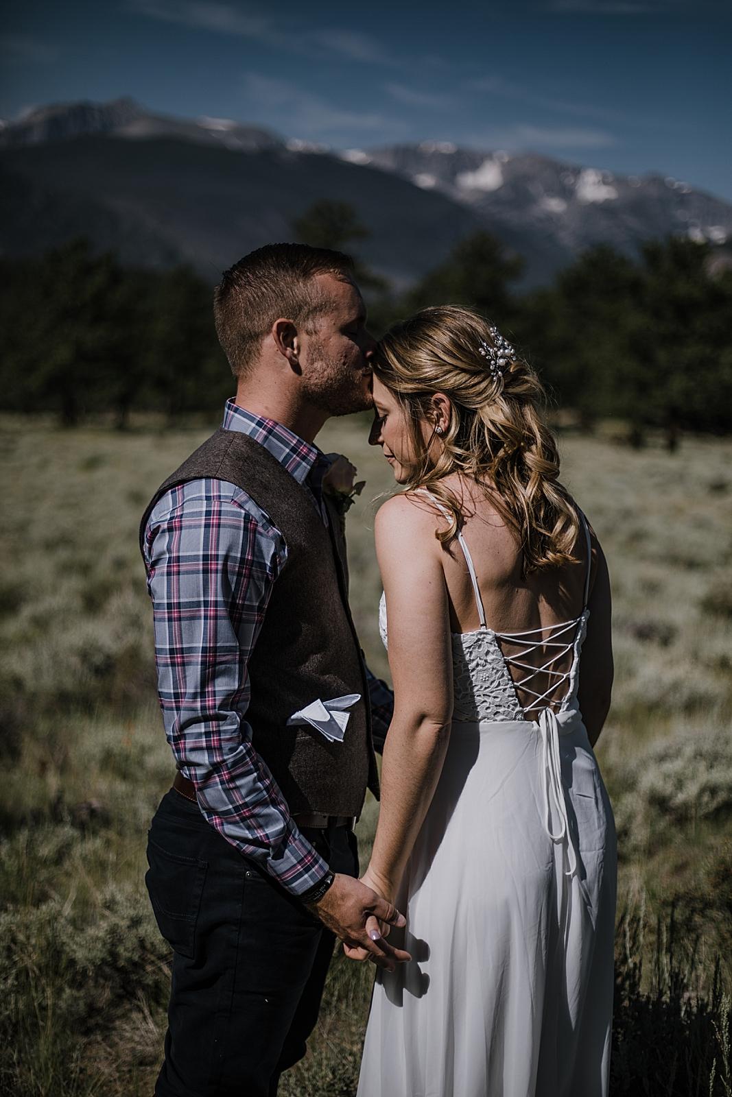 park ranger and bride, RMNP elopement ceremony, rocky mountain national park elopement, 3M curves elopement, self solemnizing, self solemnization, long's peak, summer elopement, estes park elopement
