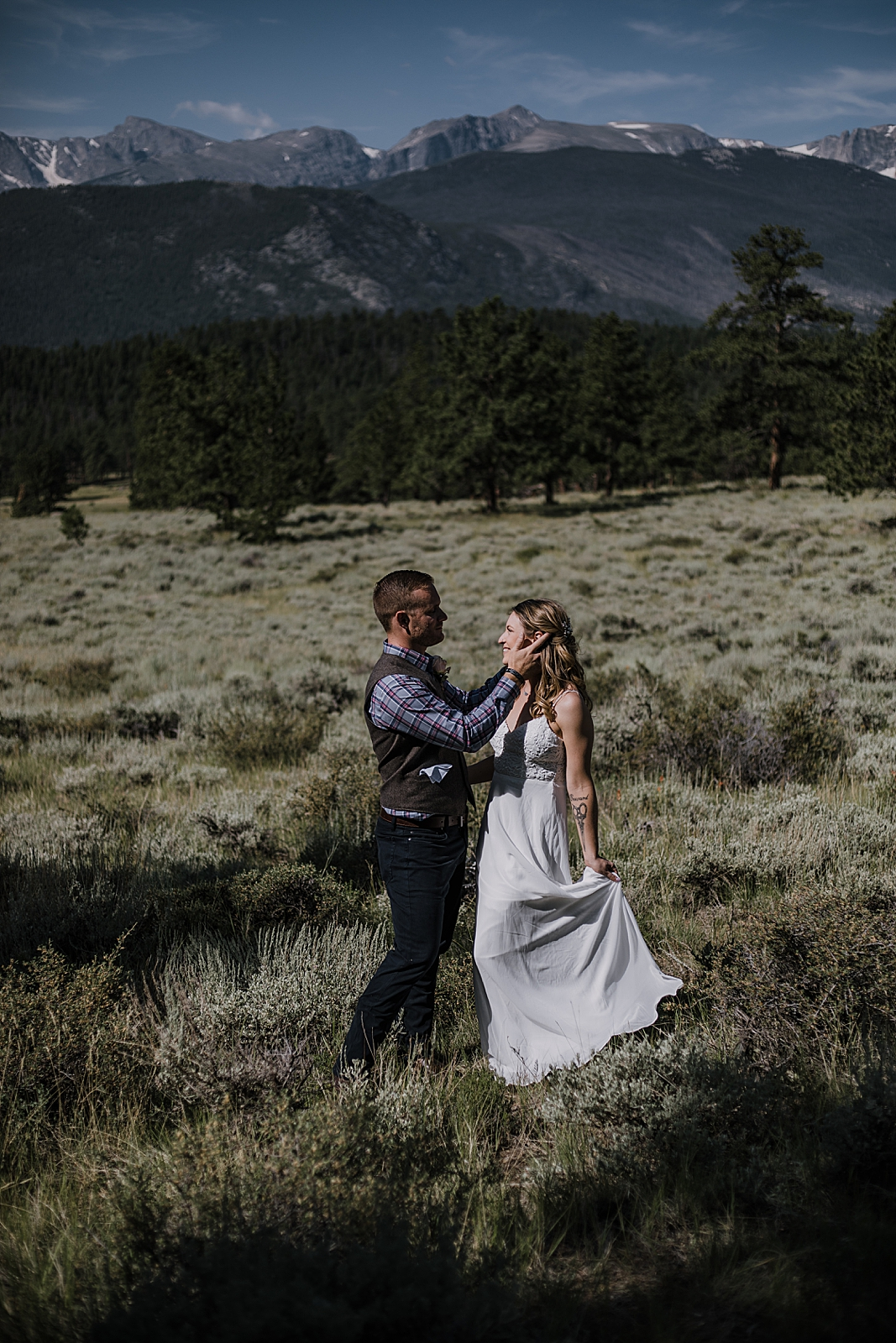 bride and groom dancing, RMNP elopement ceremony, rocky mountain national park elopement, 3M curves elopement, self solemnizing, self solemnization, long's peak, summer elopement, estes park elopement