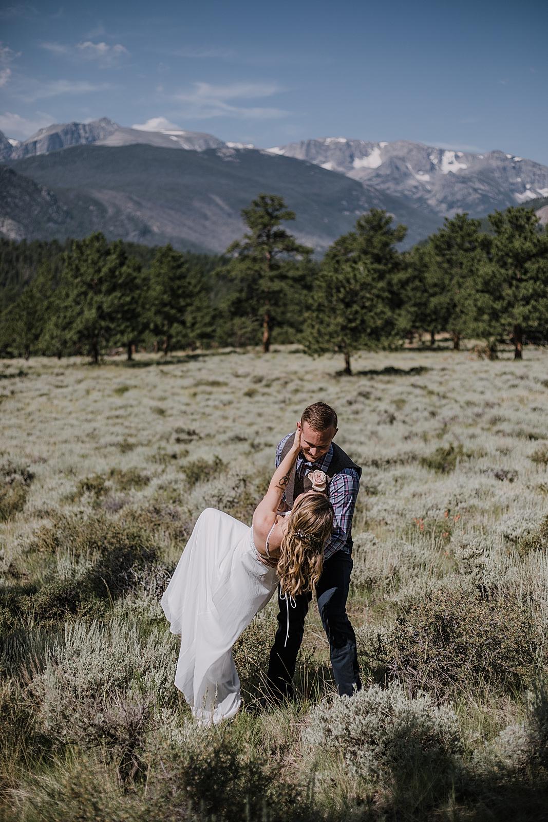 first dance, RMNP elopement ceremony, rocky mountain national park elopement, 3M curves elopement, self solemnizing, self solemnization, long's peak, summer elopement, estes park elopement
