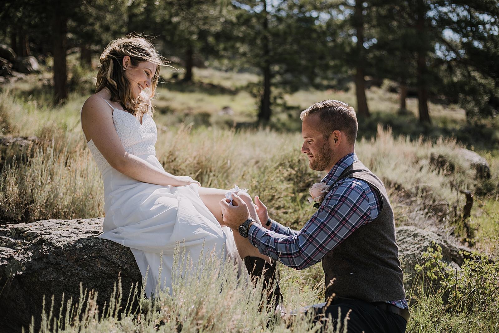 elopement garter, RMNP elopement ceremony, rocky mountain national park elopement, 3M curves elopement, self solemnizing, self solemnization, long's peak, summer elopement, estes park elopement