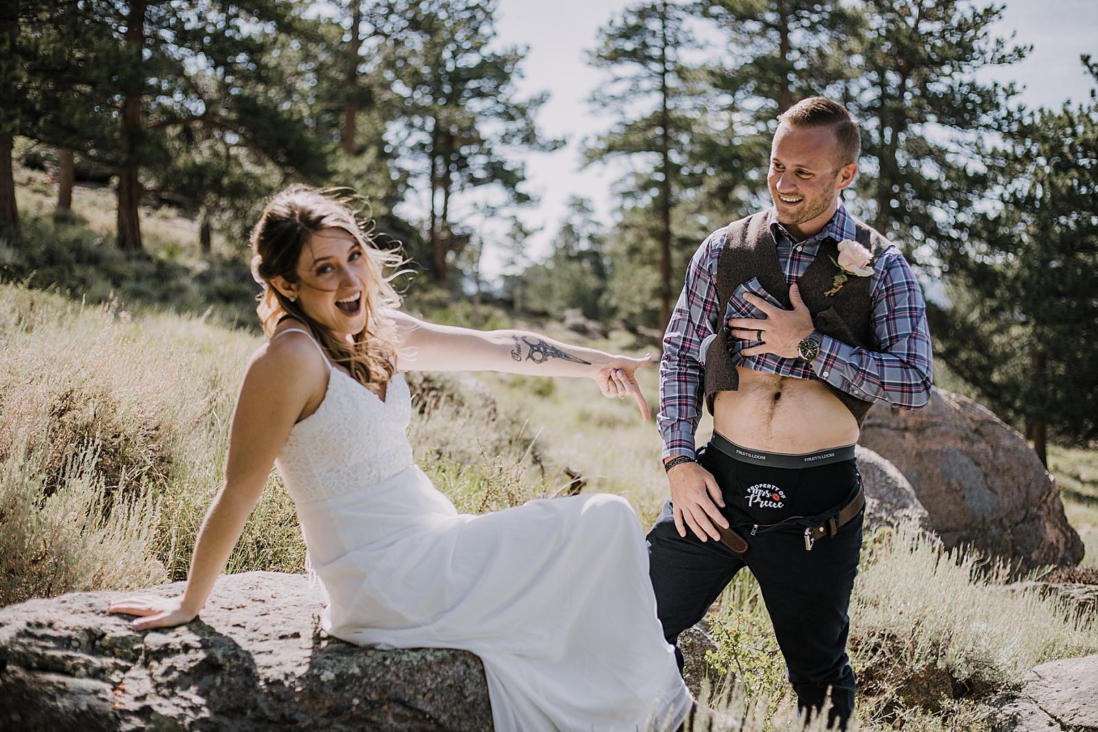 elopement underwear, RMNP elopement ceremony, rocky mountain national park elopement, 3M curves elopement, self solemnizing, self solemnization, long's peak, summer elopement, estes park elopement