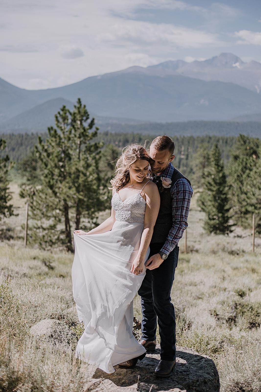 bridal attire, RMNP elopement ceremony, rocky mountain national park elopement, 3M curves elopement, self solemnizing, self solemnization, long's peak, summer elopement, estes park elopement