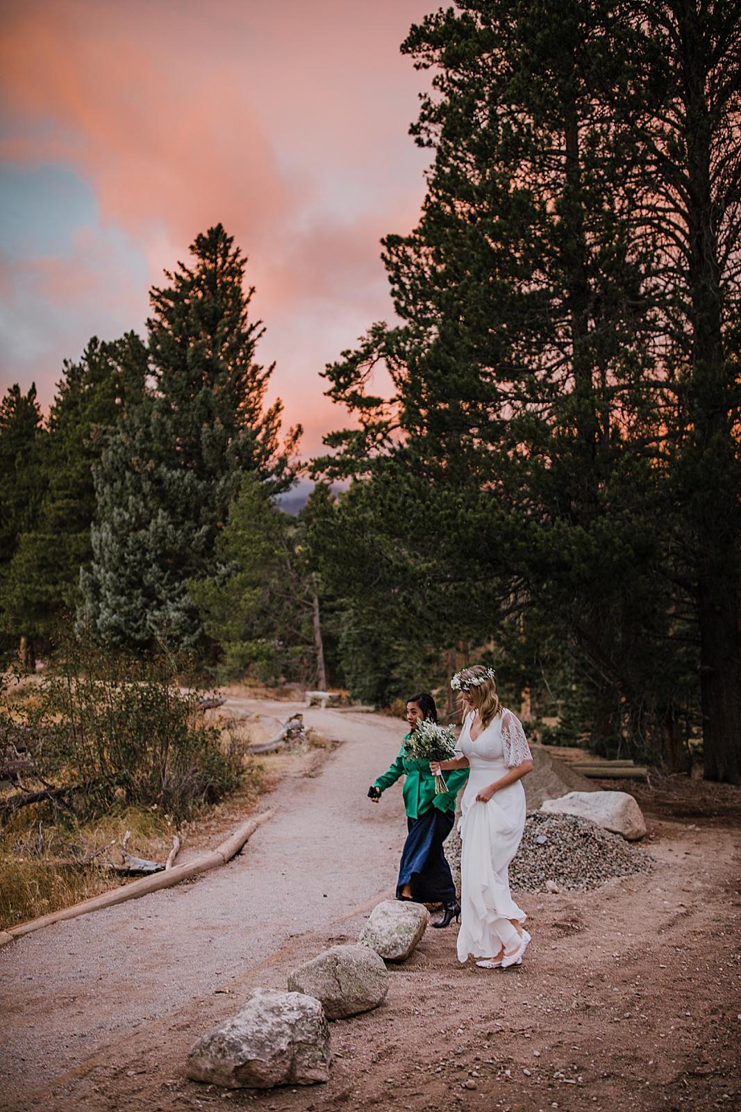 sunrise at sprague lake, colorado elopement, sprague lake elopement, sprague lake wedding, rocky mountain national park elopement, adventurous colorado hiking elopement