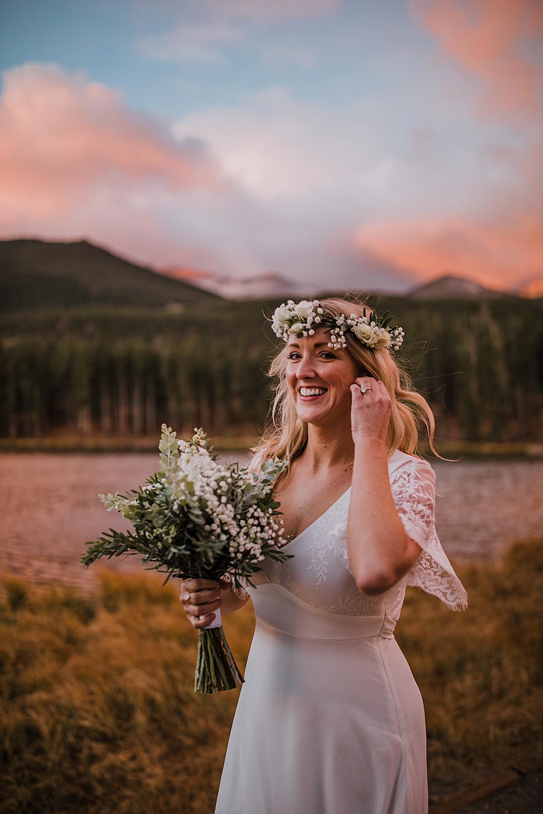 bride hiking, sunrise elopement, colorado elopement, sprague lake elopement, sprague lake wedding, rocky mountain national park elopement, adventurous colorado hiking elopement