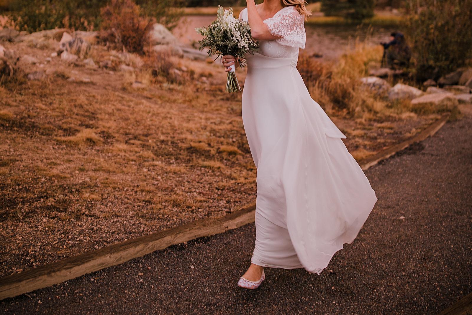 lulus wedding dress, sunrise elopement, colorado elopement, sprague lake elopement, sprague lake wedding, rocky mountain national park elopement, adventurous colorado hiking elopement