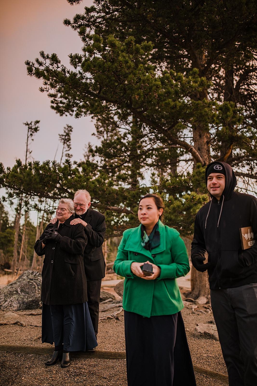 elopement guests, sunrise elopement, colorado elopement, sprague lake elopement, sprague lake wedding, rocky mountain national park elopement, adventurous colorado hiking elopement