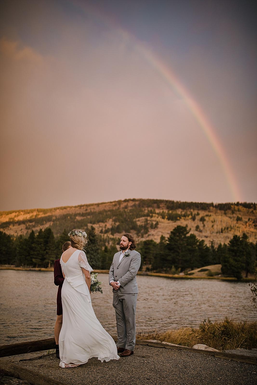 sprague lake dock elopement ceremony, sunrise elopement, colorado elopement, sprague lake elopement, rainbow elopement, rocky mountain national park elopement, adventurous colorado hiking elopement
