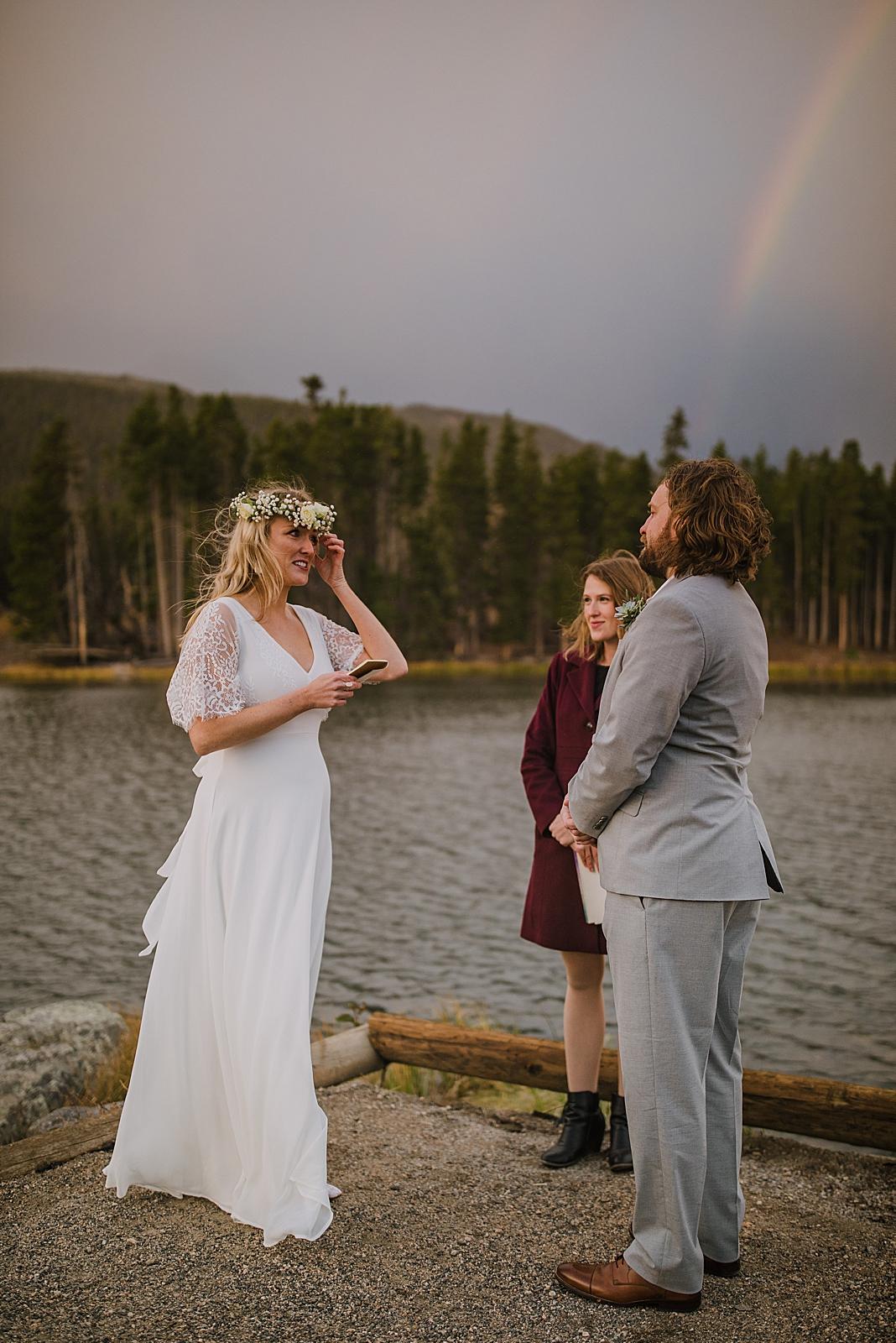 sprague lake dock elopement, sunrise elopement, colorado elopement, sprague lake elopement, rainbow on wedding day, rocky mountain national park elopement, adventurous colorado hiking elopement