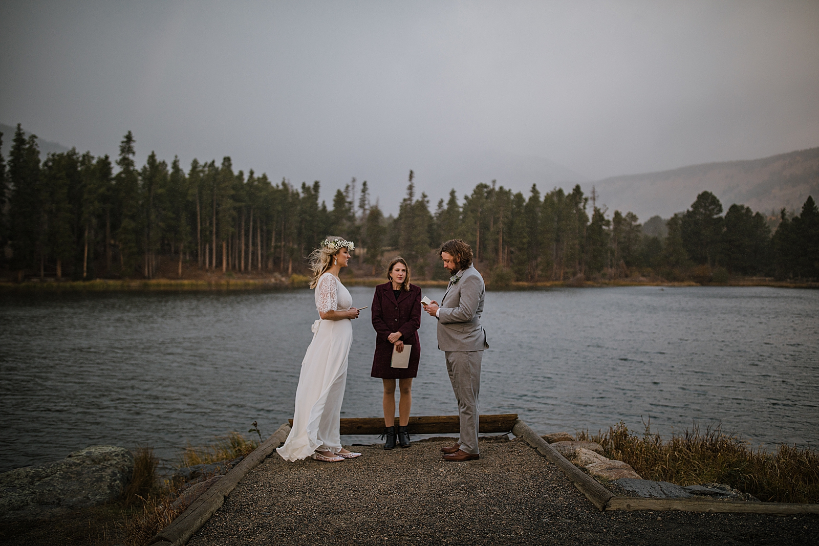 bride and groom vows, sprague lake dock elopement, sunrise elopement, colorado elopement, sprague lake elopement, rocky mountain national park elopement, adventurous colorado hiking elopement