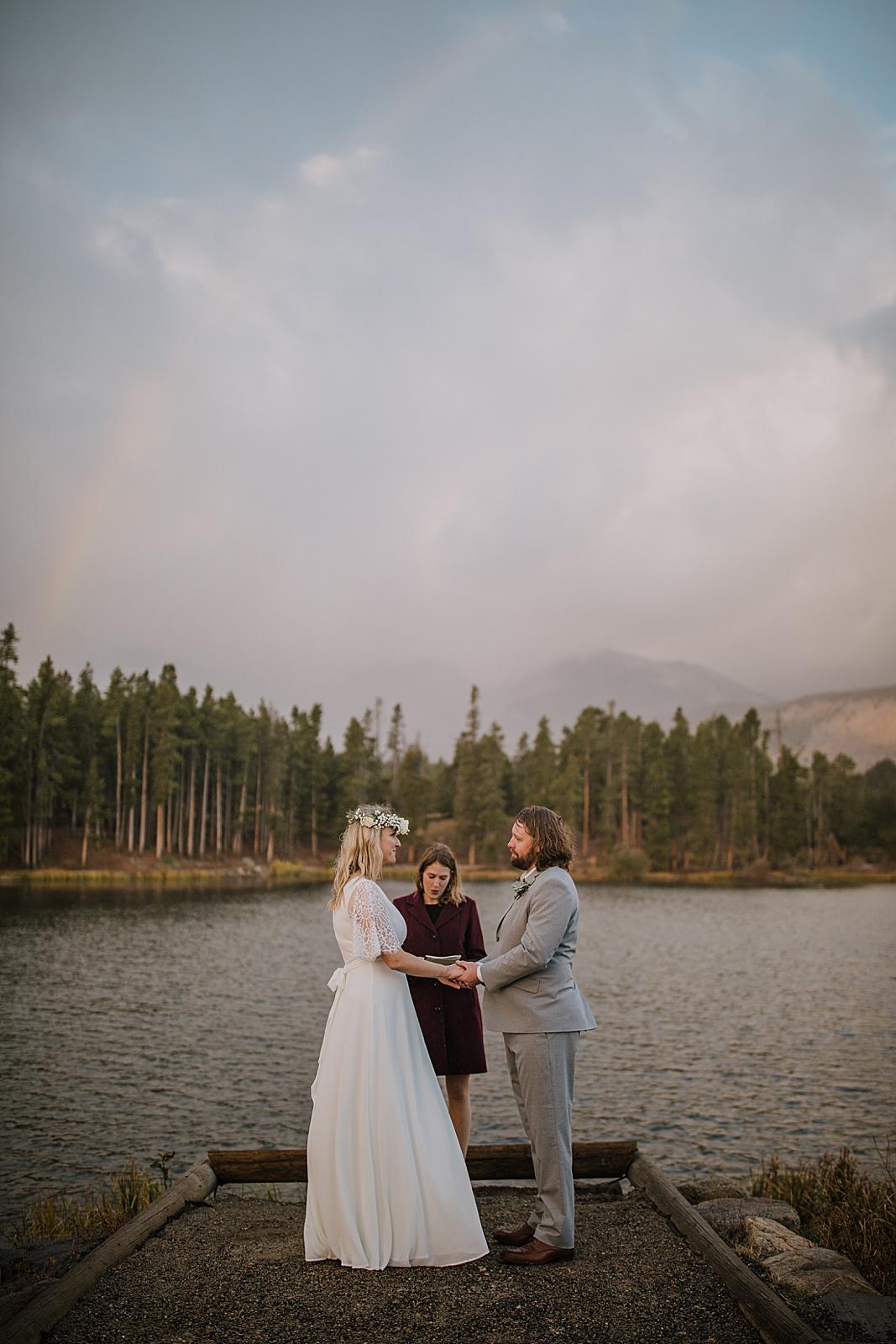 sprague lake dock elopement, sprague lake dock elopement, sunrise elopement, colorado elopement, sprague lake elopement, rocky mountain national park elopement, adventurous colorado hiking elopement