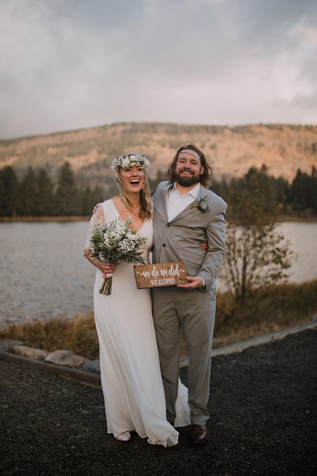 we eloped, sprague lake dock elopement, sunrise elopement, colorado elopement, sprague lake elopement, rocky mountain national park elopement, adventurous colorado hiking elopement