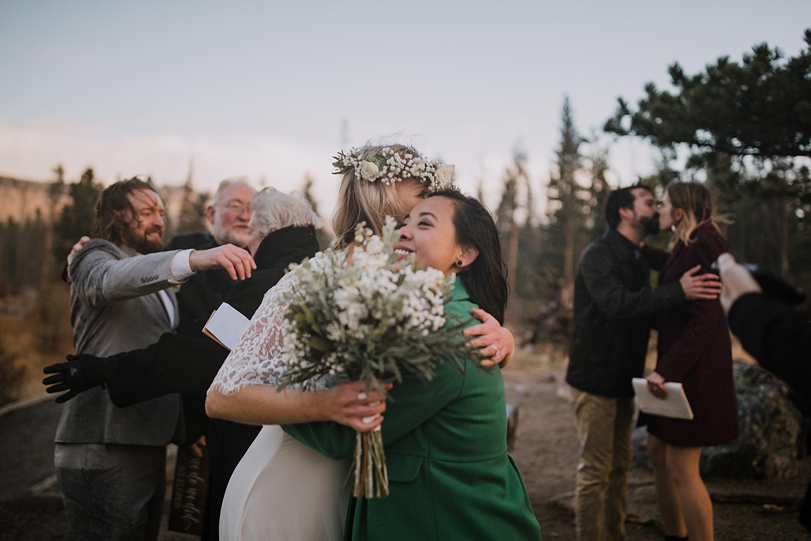 elopement reception, sprague lake dock elopement, sunrise elopement, colorado elopement, sprague lake elopement, rocky mountain national park elopement, adventurous colorado hiking elopement
