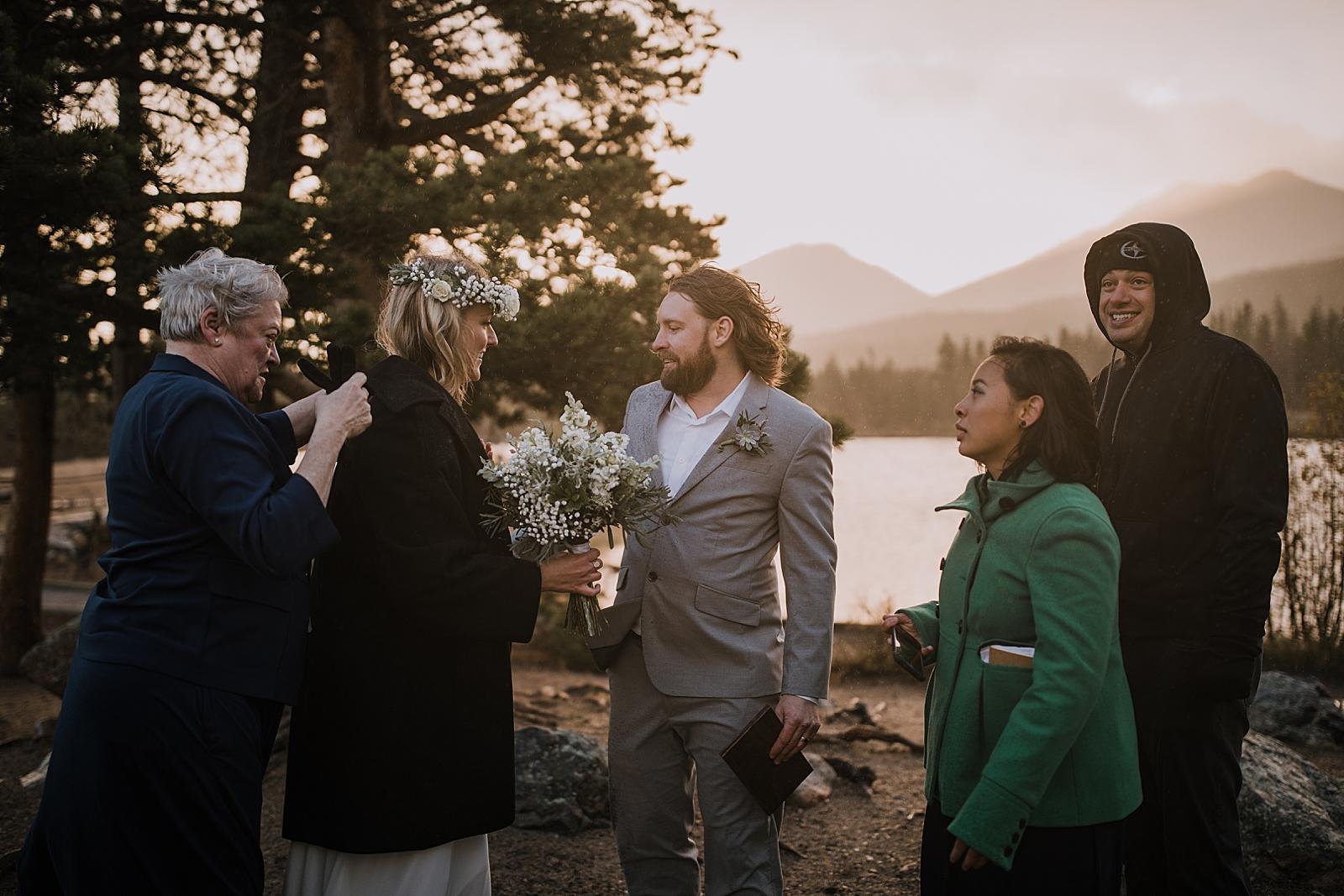 elopement celebration, sprague lake dock elopement, sunrise elopement, colorado elopement, sprague lake elopement, rocky mountain national park elopement, adventurous colorado hiking elopement