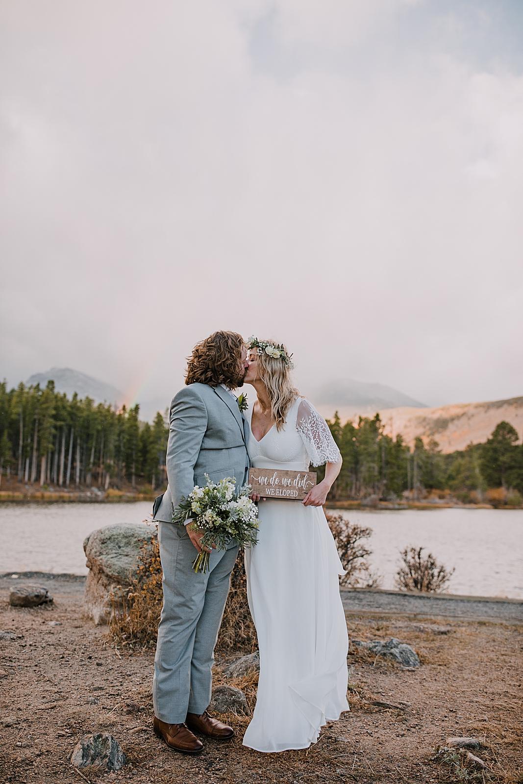 elopement sign, sprague lake dock elopement, sunrise elopement, colorado elopement, sprague lake elopement, rocky mountain national park elopement, adventurous colorado hiking elopement