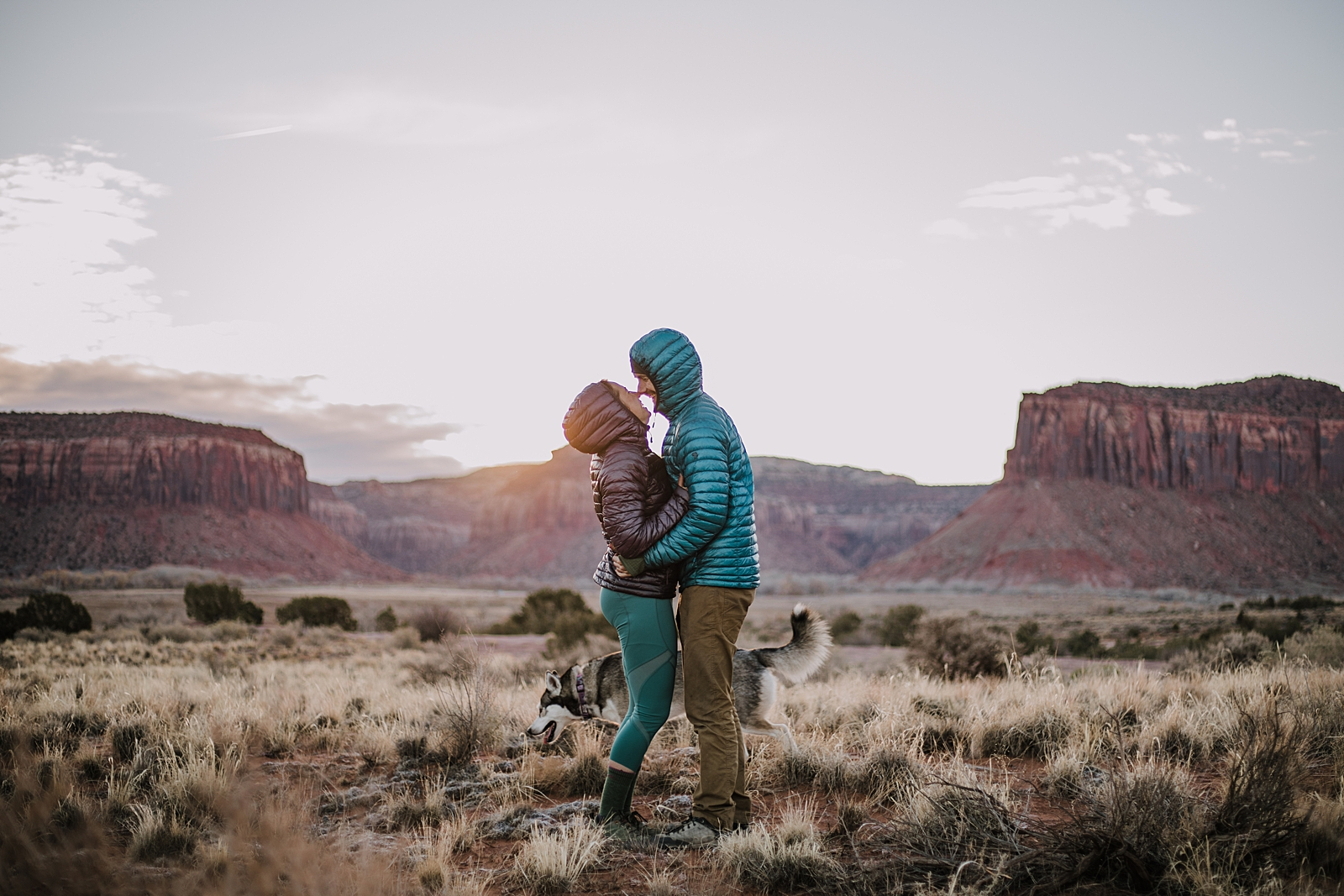 sunrise climbing in indian creek, moab utah, engagements, desert love, hiking in moab, hiking in indian creek, indian creek elopement