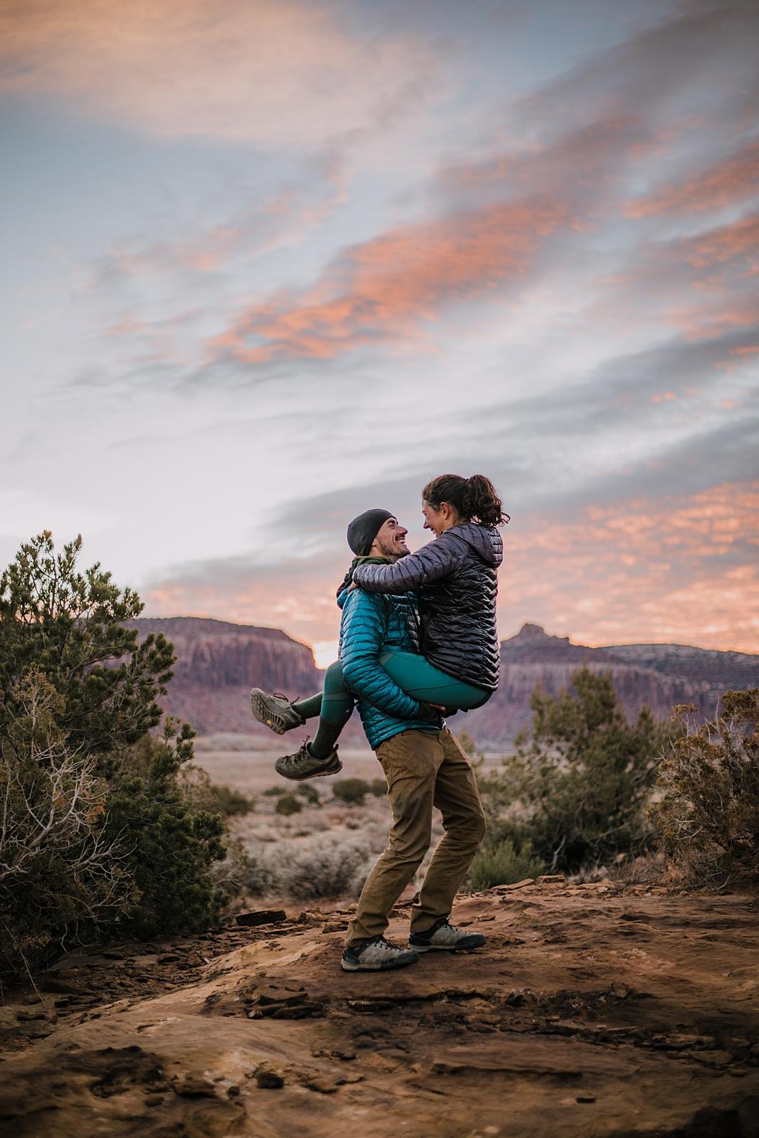 epic sunrise in indian creek monticello utah, sunrise climbing in indian creek, moab utah, engagements, desert love, hiking in moab, hiking in indian creek, indian creek elopement