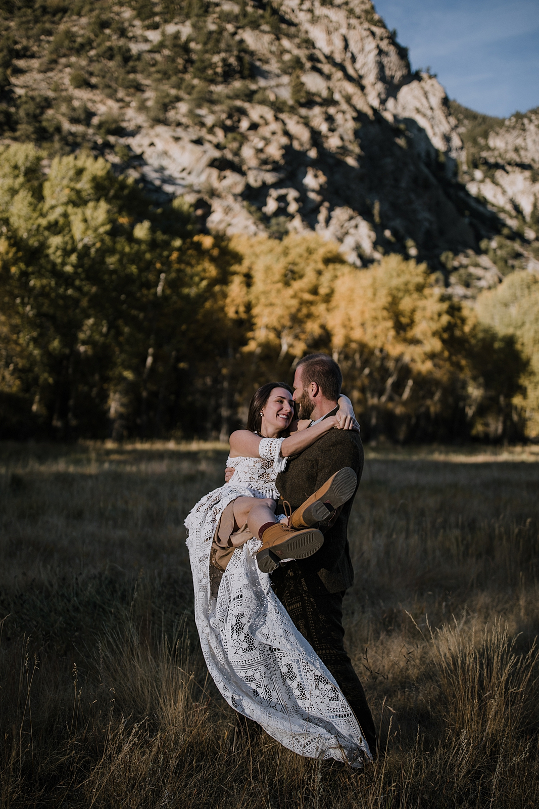 wedding couple jumping, weddings that include dogs, nathrop colorado elopement, bridal day after session, elopement celebration, nathrop colorado in the fall, fall hiking in nathrop