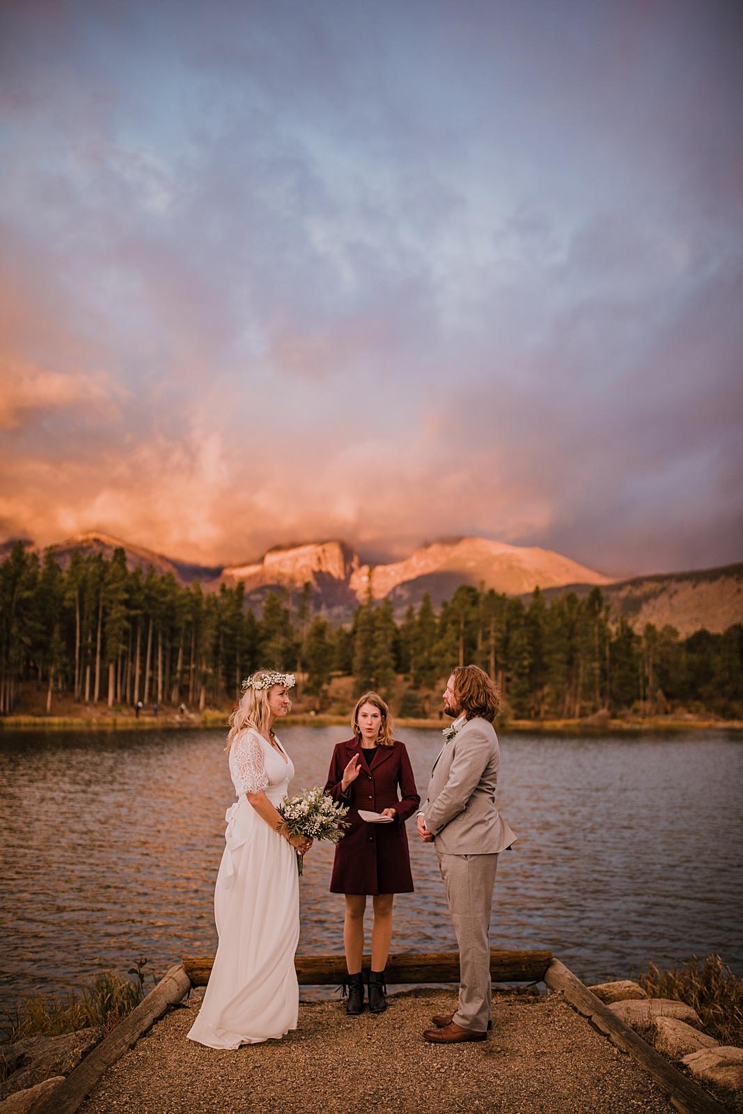 hiking sprague lake in rocky mountain national park, rocky mountain national park elopement, self solemnize in rocky mountain national park, estes park elopement, sprague lake elopement