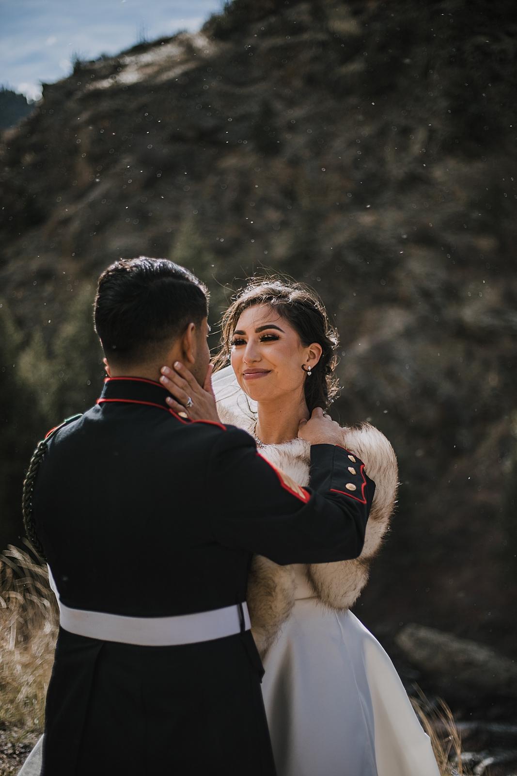 sun rain on couple, marine groom and police bride, hiking clear creek canyon, golden colorado wedding, golden colorado elopement, clear creek canyon climbing area
