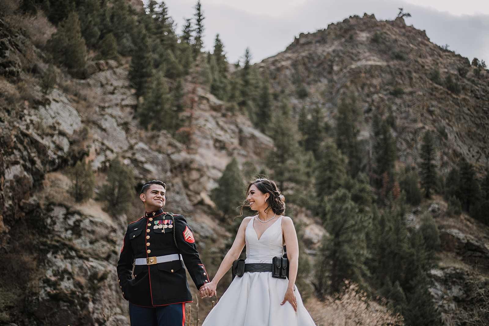 marine groom and police bride, hiking clear creek canyon, golden colorado wedding, golden colorado elopement, clear creek canyon climbing area