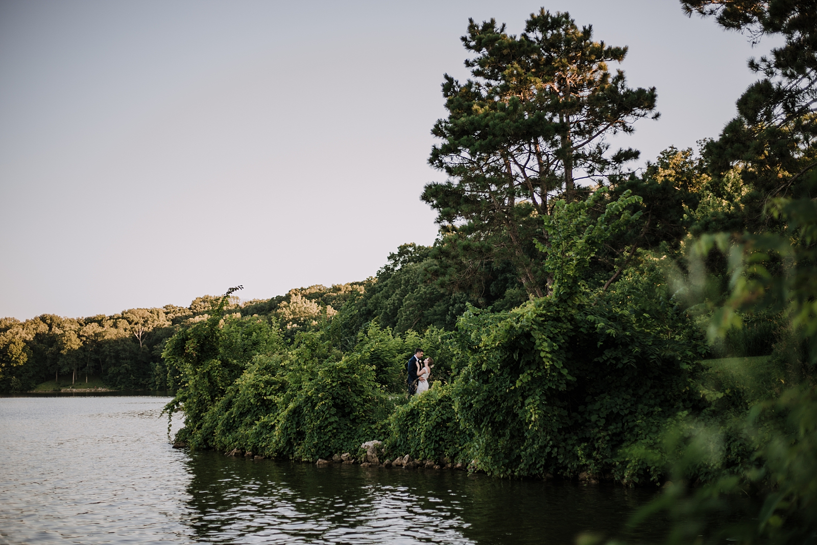 bride and groom iowa backyard pool wedding, solon iowa lake mcbride wedding, lake mcbride elopement
