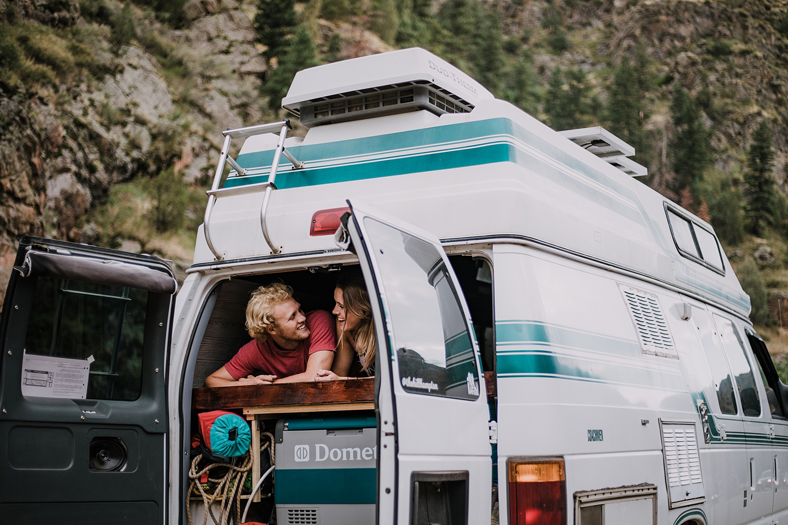 couple living life on the road and in a van, road tripping across the united states, van life in colorado, clear creek canyon golden colorado, clear creek canyon elopement