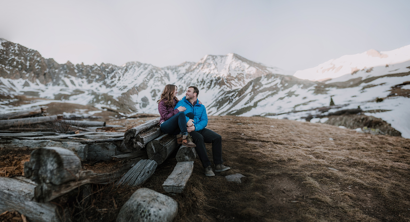 winter hiking mayflower gulch leadville and copper colorado, backcountry skiing to mayflower gulch, sunrise at mayflower gulch, mayflower gulch engagements, leadville wedding photographer