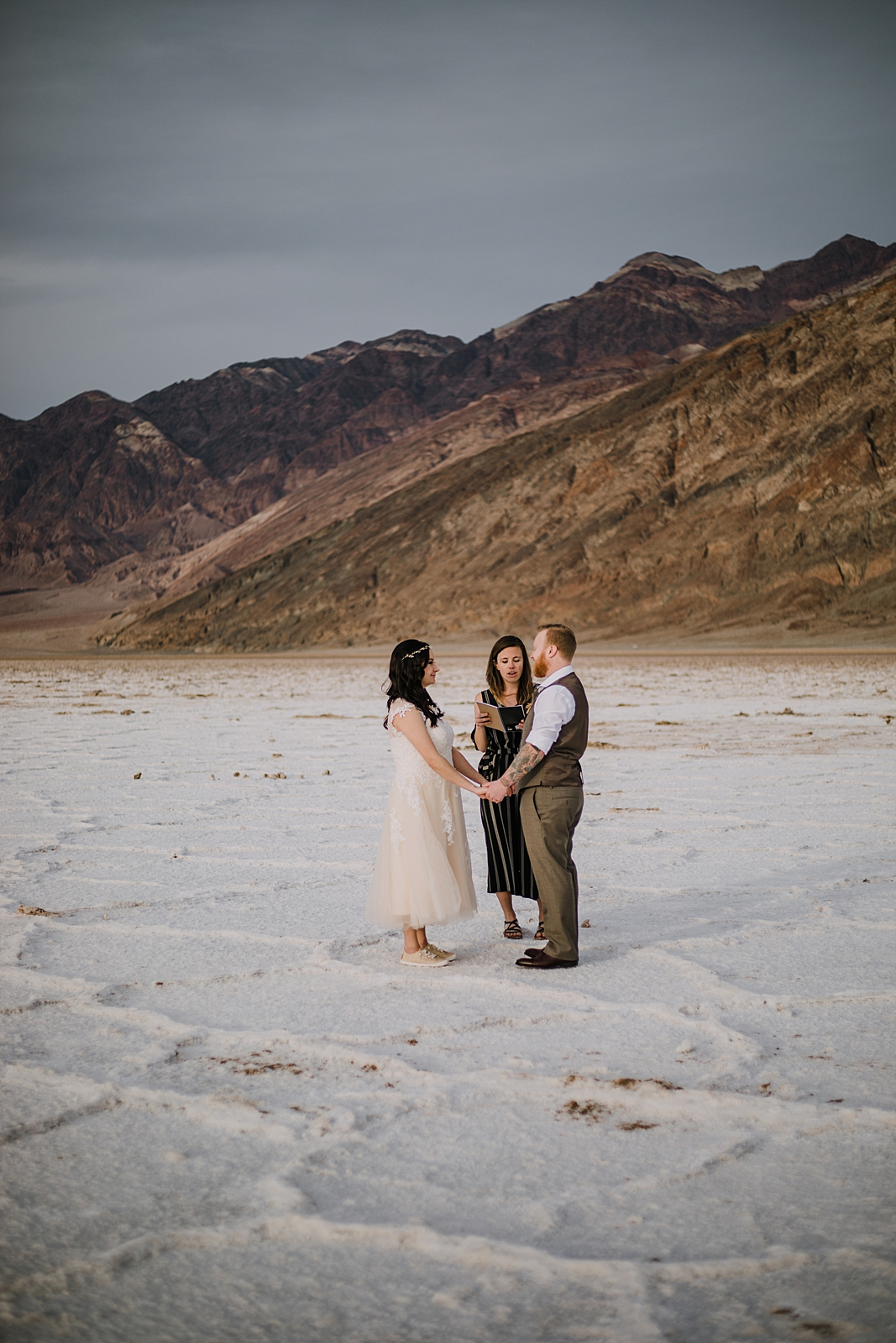 elopement on the salt flats, death valley national park elopement, elope in death valley, badwater basin elopement, hiking in death valley national park, sunset at badwater basin