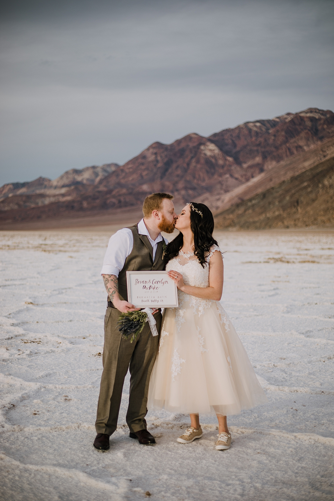 handmade elopement sign, death valley national park elopement, elope in death valley, badwater basin elopement, hiking in death valley national park, sunset at badwater basin