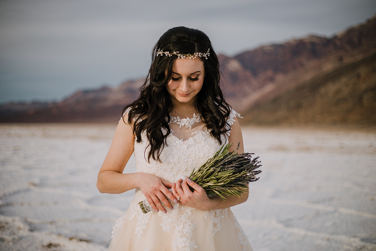 lavender bridal bouquet, death valley national park elopement, elope in death valley, badwater basin elopement, hiking in death valley national park, sunset at badwater basin