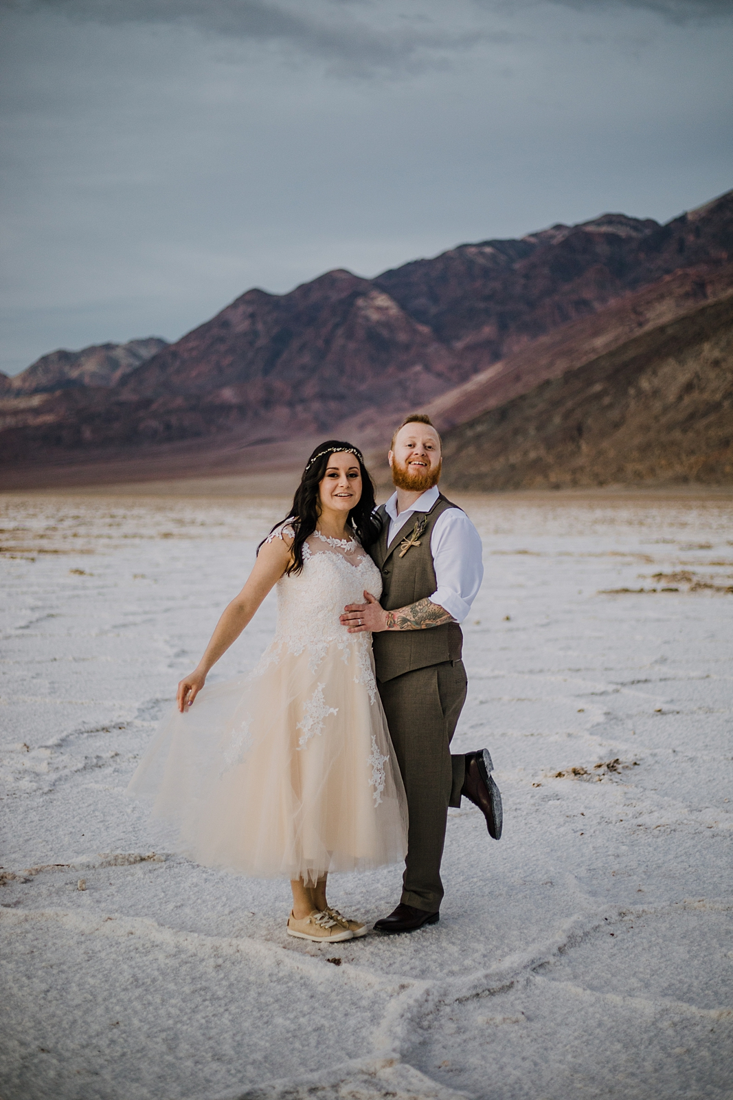 bridals at the salt flats, death valley national park elopement, elope in death valley, badwater basin elopement, hiking in death valley national park, sunset at badwater basin