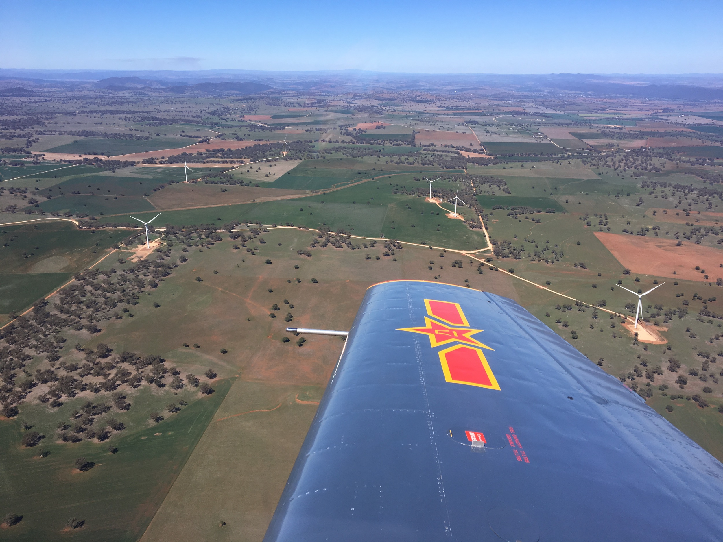 "Bodangora wind farm and the ""patchwork"" countryside of the Dubbo/Western plains region. Photo taken 50km southeast of Dubbo Airport."