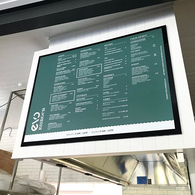 Menu board design for @evoburgercairns  The coolest new hangout in Cairns, best burgers great vibes! Well done to @rogermainwood @stef_field @tpgarchitects for creating something new in our little town ! Nailed it 👌 #evoburger #evoburgercairns #tpgarchitects #burgers #design#interior #wayfinding #shakes #beers #cairns