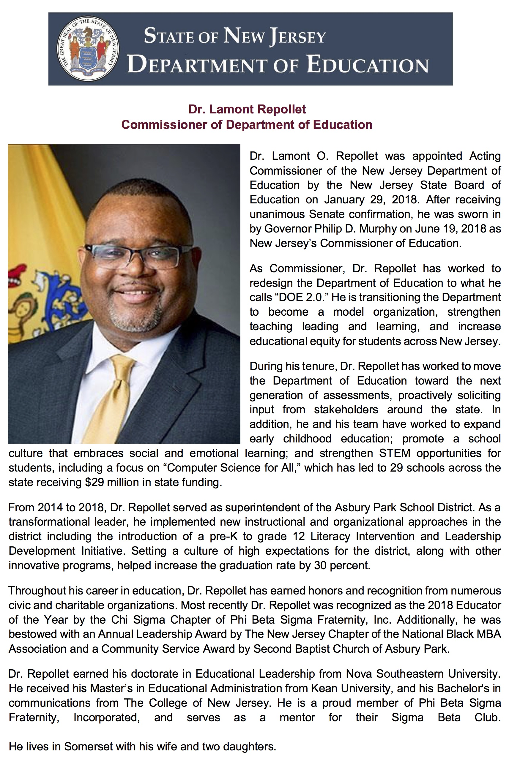 Commissioner of Education - Dr Lamont Rapollet Bio.jpg
