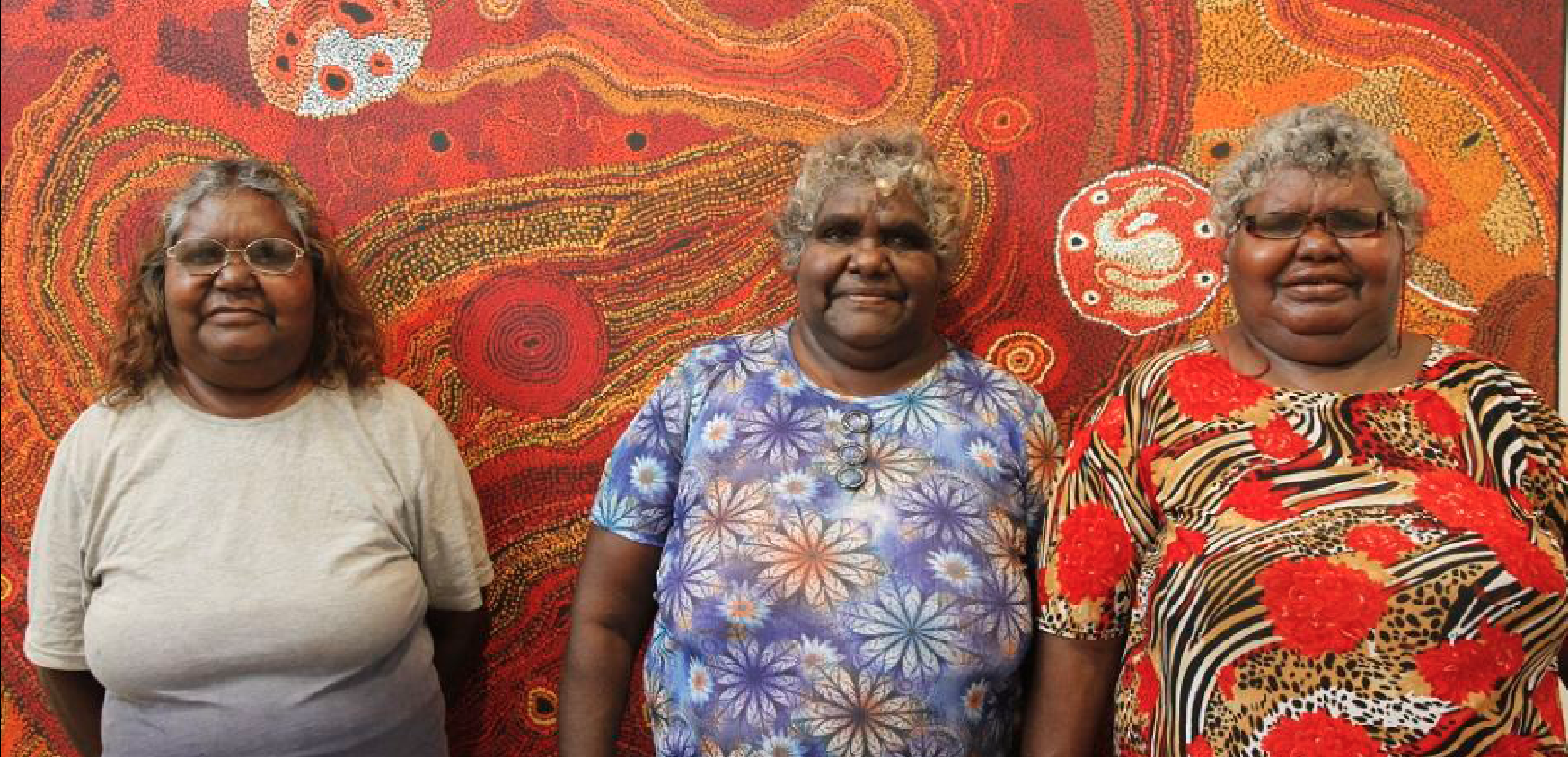 Maringka Tunkin, Freda Brady and Yaritji Young at 2017 APY Town Studio, Tangentyere Artists