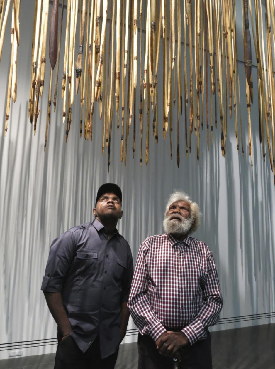 Mr Willy Kaika with his grandson Michael Bruno, Kulata Tjuta, Dark Heart, Adelaide Biennale 2014