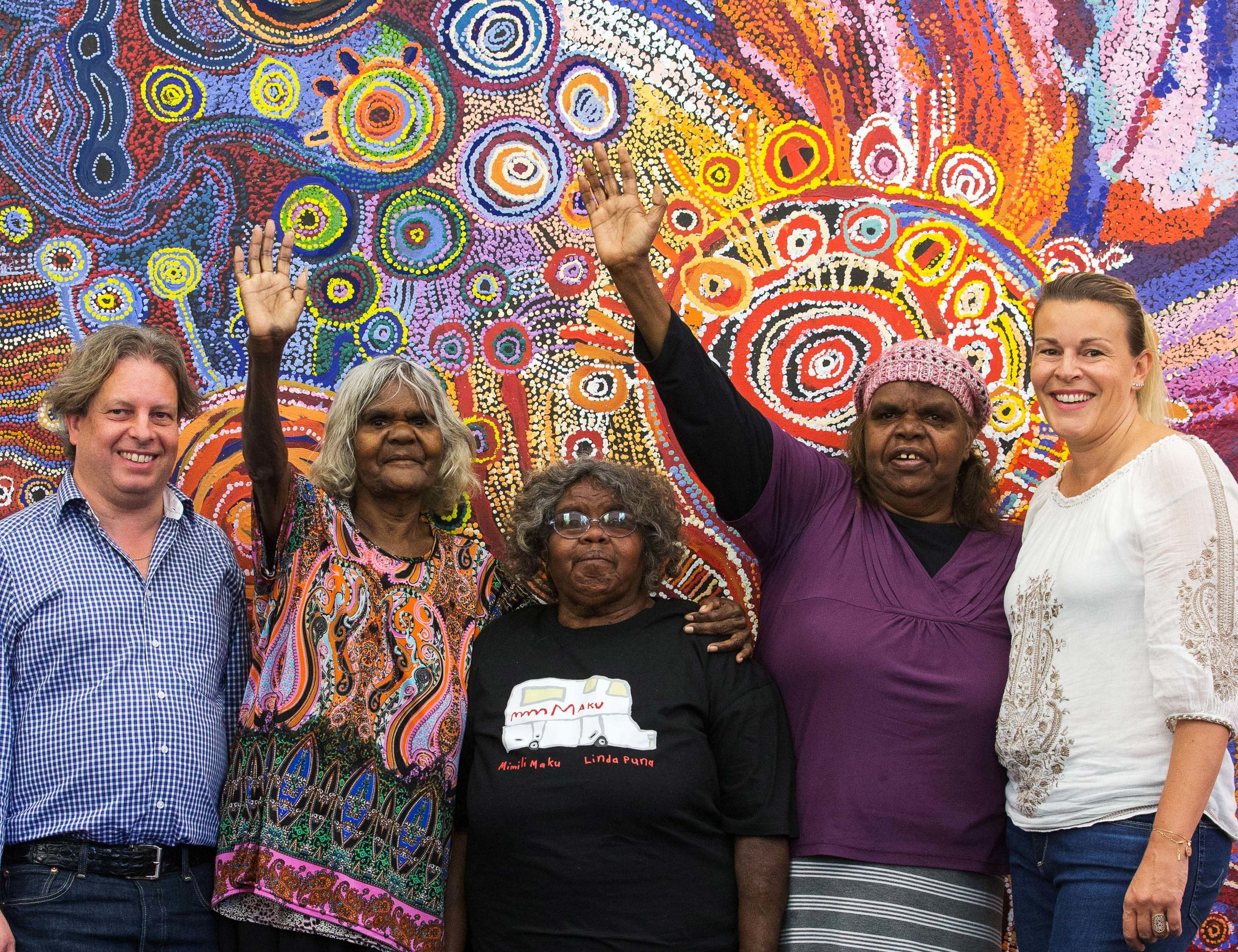 APY Art Centre Collective Nyurpaya Kaika, Tuppy Goodwin and Nyunmiti Burton celebrate the incredible success of the APY Renal Auction with some of their biggest supporters!