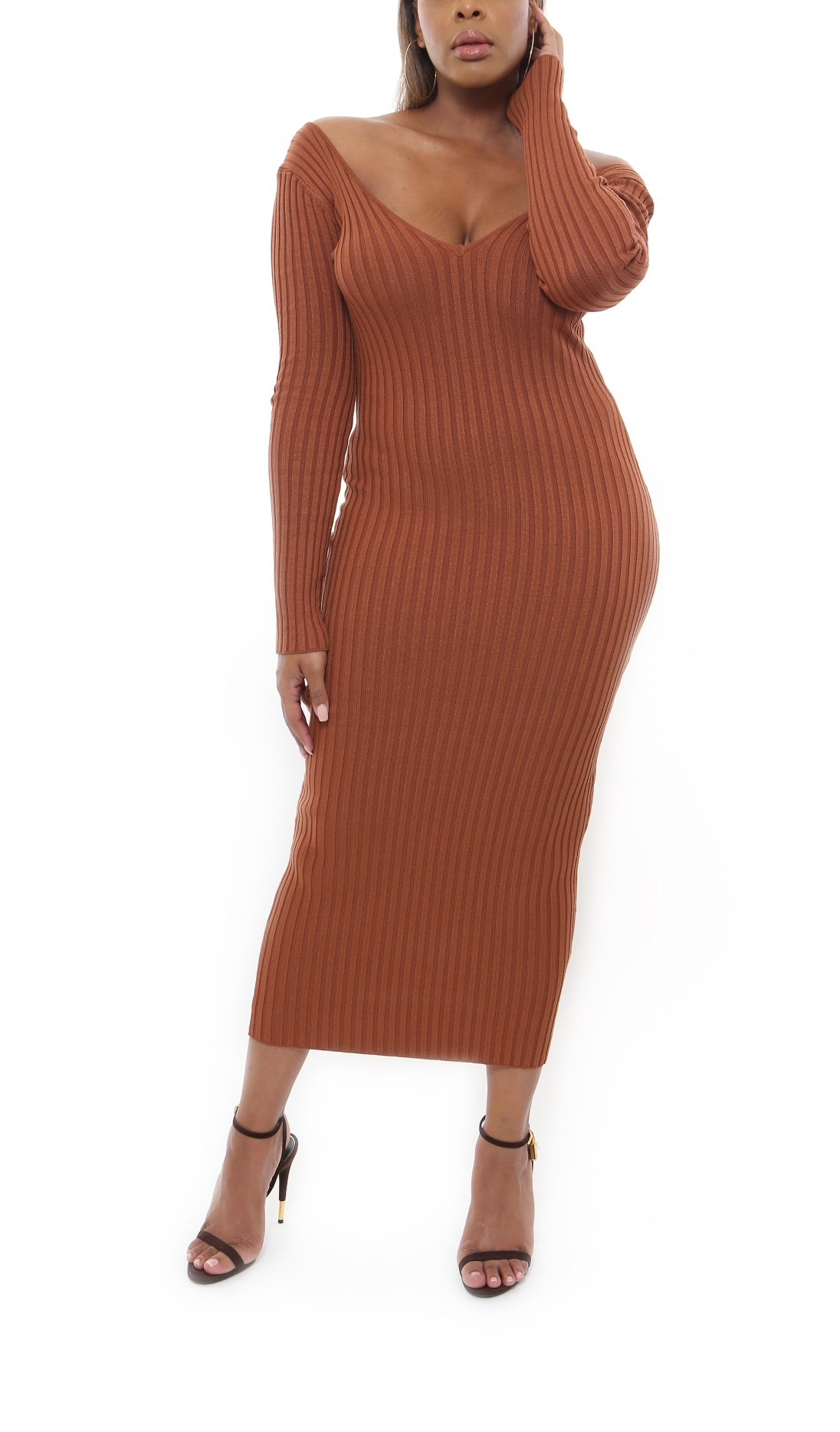BODIED IT | RIBBED DRESS (RUST)