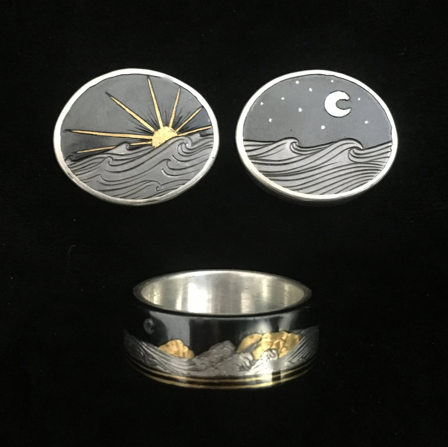 Mens Custom Wedding Ring and Cufflink Set