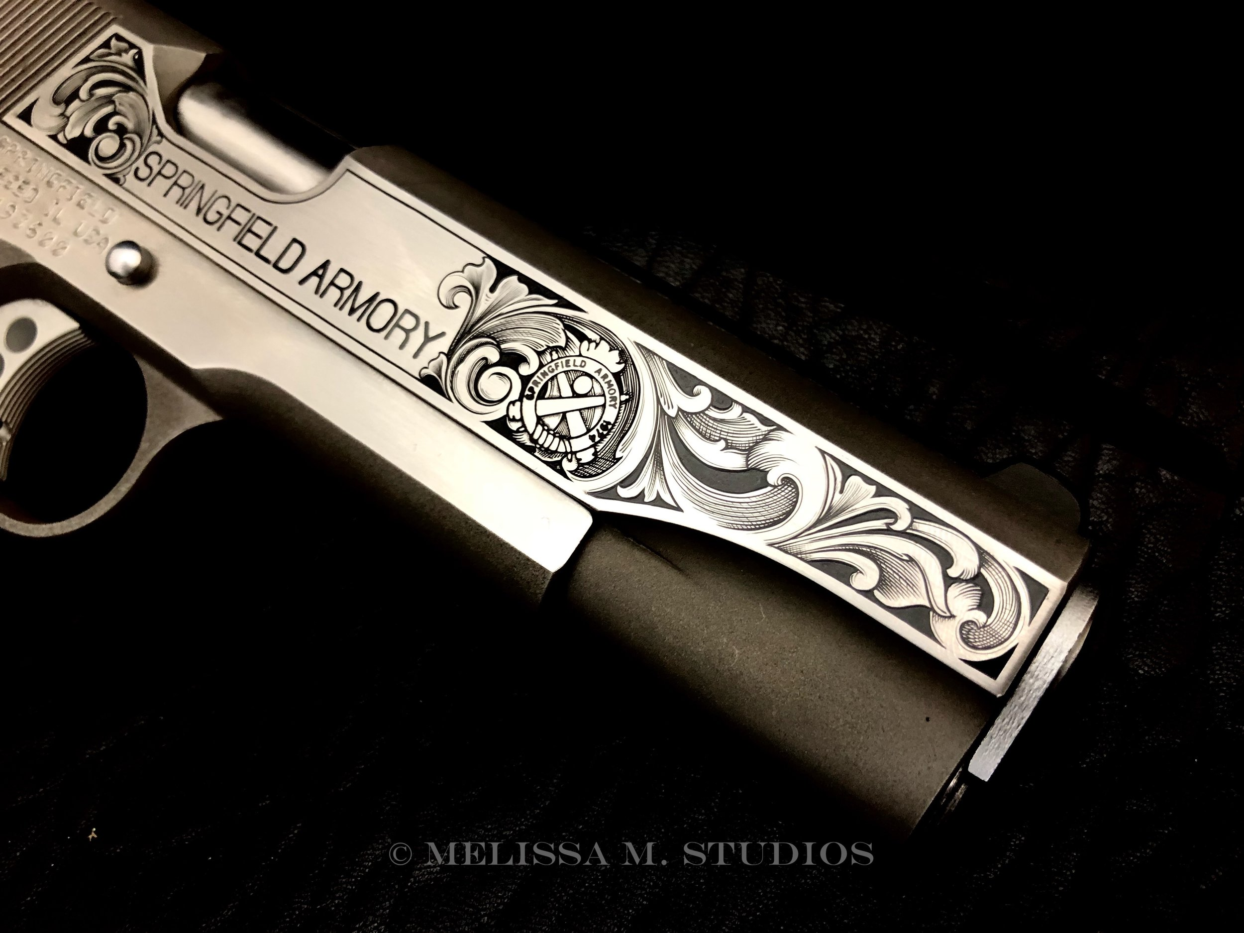 Hand Engraved 1911 Slide