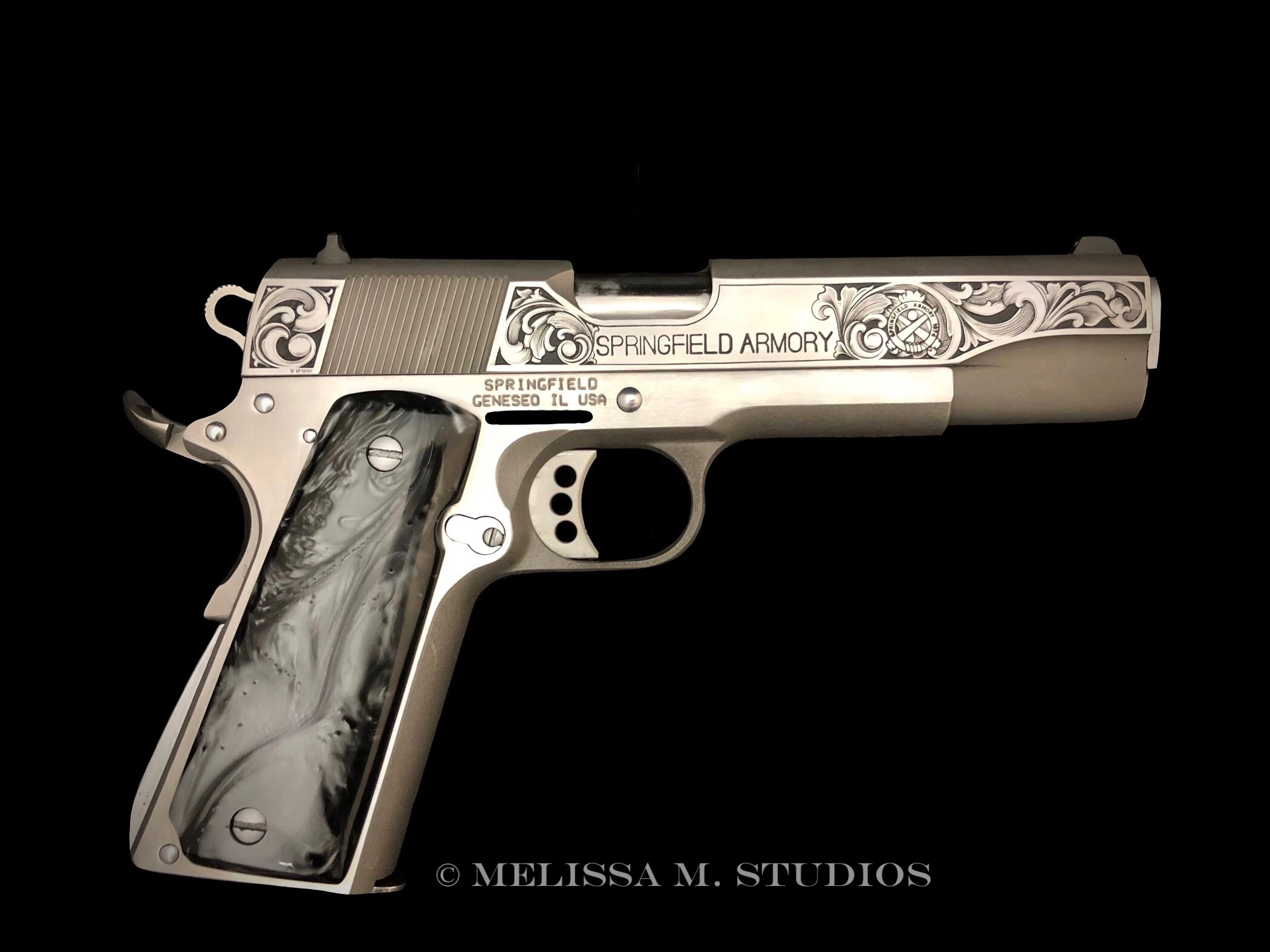 Engraved Stainless Springfield Armory 1911