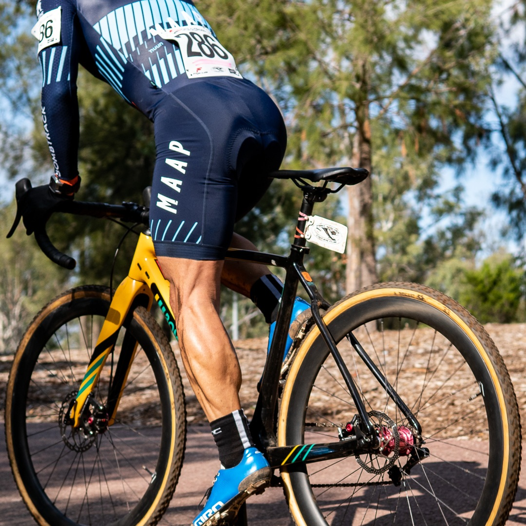 Paul's calves pushing that custom SSCX Tension 3 build around. Photo c/o James Raison